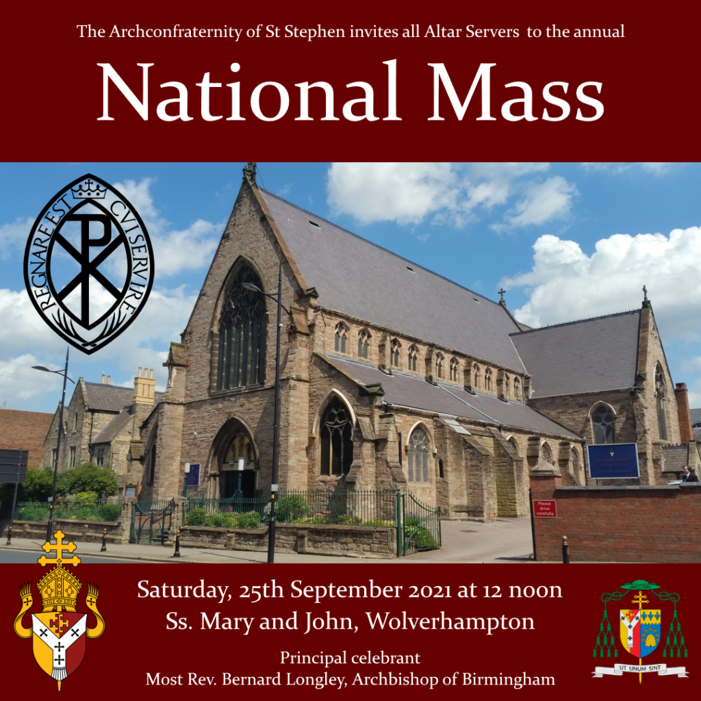 Poter for the National Mass advertising it is taking place on 25th September 2021 at 12noon at Ss. Mary and John, Wolverhampton